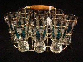 Eight Libby Diamond Pattern Glass, Brass/Wood Stand: