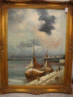 Signed RANGE Dutch Harbor Scene Oil On Canvas: