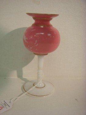 MOUNT WASHINGTON Cased Tall Stem Vase: