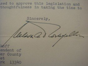 Personal Letter Signed, NELSON A. ROCKEFELLER: