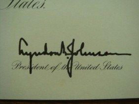 Certificate President Signed, LYNDON B. JOHNSON: