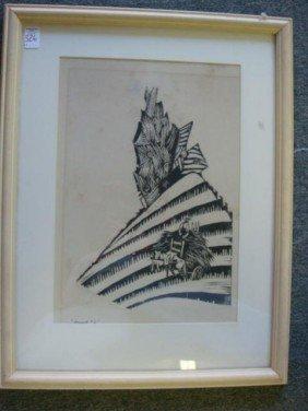 "ANTONIO FRANSCONI Woodcut Titled ""Vermont 2"":"