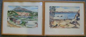 Pair Of MILNER California Watercolors: