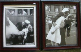 Two Photos Of Sailor Kissing Girl Post WWII: