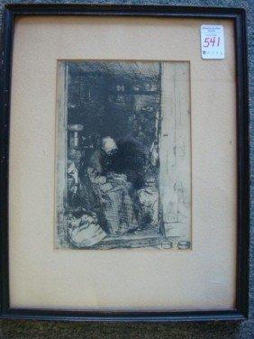 """JAMES A. M. WHISTLER Etching """"La Vielle Aux Loques"""