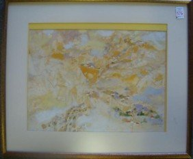 Signed Asian Watercolor Landscape: