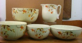 Four HALL Jewel Tea Bowls And Pitcher:
