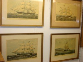 Four Framed Handcolored Sailing Ship Prints: