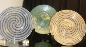 Three Swirled Art Glass Plates: