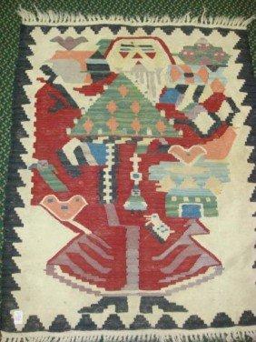 Handloomed Kilim Pictorial Santa Rug: