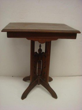 Walnut Line Carved Eastlake Side Table, 4 Way Base