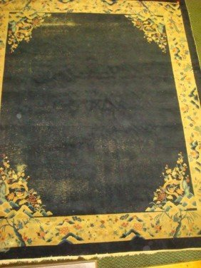 Handloomed Antique Peking Chinese Rug: