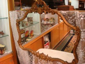 Vintage Plate Wall Mirror In Ornate Carved Frame: