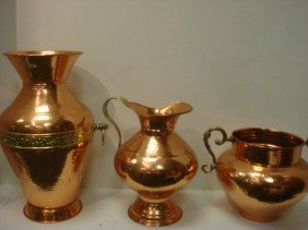 Three Hammered Copper And Brass Vessels:
