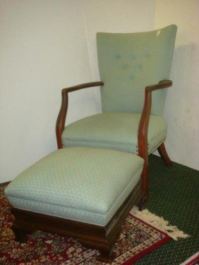 Upholstered Mahogany Frame Arm Chair, Large Footst