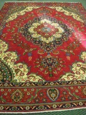 Hand Loomed Wool Persian Tabriz Rug: