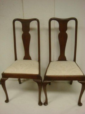 Pair Of Mahogany Splat Back Queen Anne Side Chair