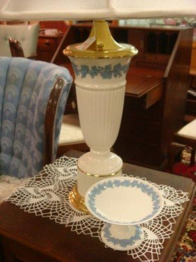 ENGLISH Wedgwood Queensware Table Lamp And Compot