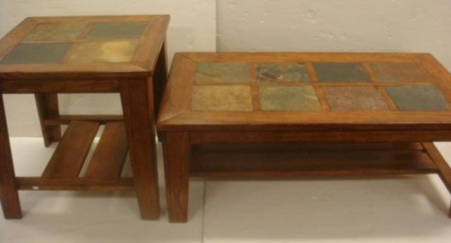 146 Walnut And Slate Top Coffee And End Tables Lot 146