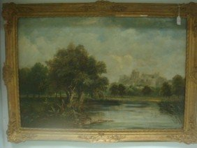 Signed F W WATTS Oil Landscape On Canvas: