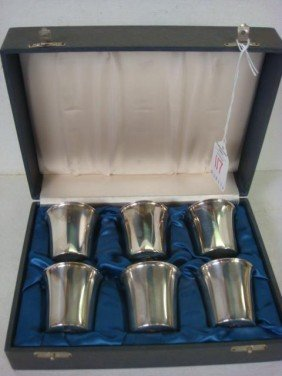 Set Of Six Swedish Sterling Silver Cordials In Cas