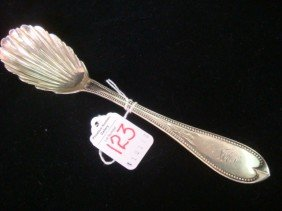 T EVANS & CO Coin Silver Shell Bowl Spoon: