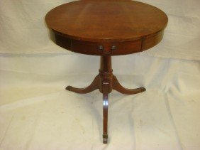 MERSMAN Single Drawer Mahogany Drum Table: