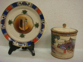 Hand Painted NIPPON Lidded Jar And Egyptian Dish: