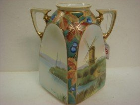 Hand Painted NIPPON Double Handled Squared Vase: