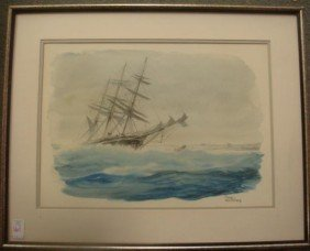 """CASEY HOLTZINGER, Watercolor, """"Shipwreck"""":"""
