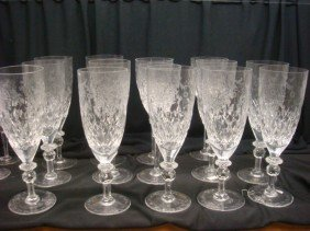 Twelve Lead Crystal Yugoslavia Water Goblets: