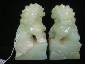 Pair Of Jade Foo Dog Bookends: