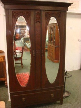 Double Mirror Door Mahogany Wardrobe:
