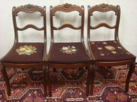 Three Rose Carved Mahogany Side Chairs: