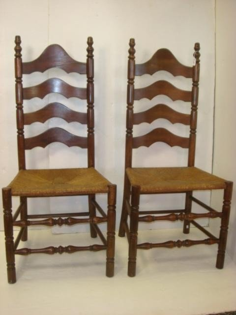 96 Pair Of Rush Seat Ladder Back Chairs Lot 96