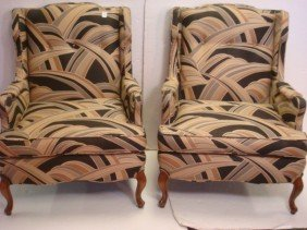 Pair Of Button Tufted Wing Back Arm Chairs:
