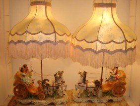 Pair Of Capodimonte Porcelain Carriage Lamps: