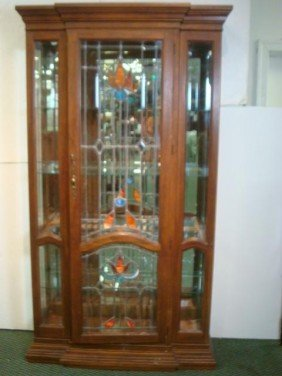 Single Beveled And Leaded Door Oak China Cabinet: