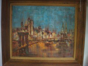 Signed A DAIMOND Cityscape Oil On Canvas: