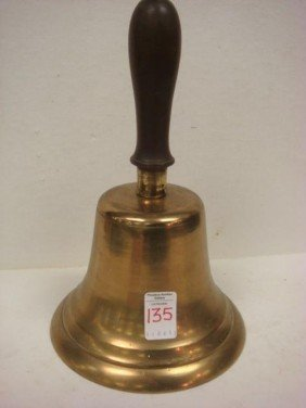 Solid Brass Wooden Handled School Bell:
