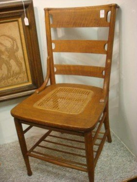 Gentleman's Butler Oak Side Chair With Caned Seat: