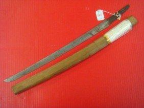 Japanese WAKIZASHI, Short Sword, Wooden Scabbard:
