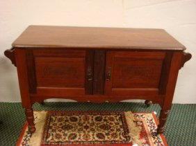 Mahogany Stained Walnut Double Door Wash Stand: