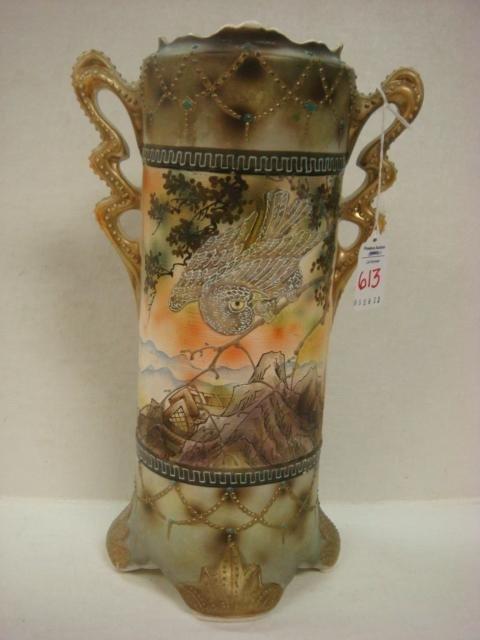 613 Royal Nishiki Nippon Double Handled Scenic Vase