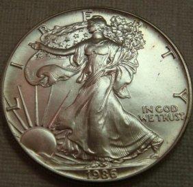 1986 AMERICAN SILVER EAGLE BULLION Coin: