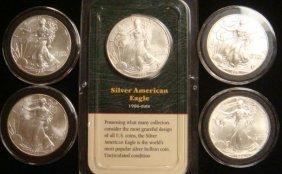 Five SILVER AMERICAN EAGLE BULLION COINS: