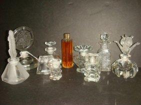 Nine Clear Glass Perfume Bottles: