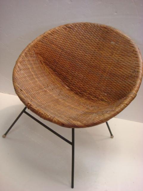 Mid Century Modern Wicker Hoop Chair Lot 105