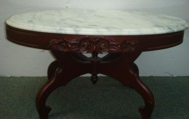 Rose carved mahogany oval marble top coffee table lot 319 for Oval coffee table with marble top