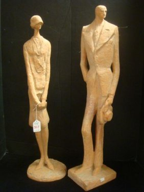 Austin Products Male Amp Female Red Clay Look Statues Lot 307